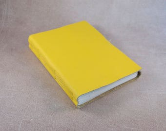 SALE Yellow leather journal sketchbook, unique notebook A6 travel journal