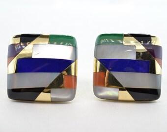 Asch-Grossbardt 14k Yellow Gold Multigem Lever Back Post Earrings