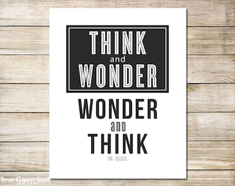 PRINTABLE ART Classroom Decor Think And Wonder Wall Decor Classroom Wall Art  Classroom Wall Art Teacher Appreciation Gift