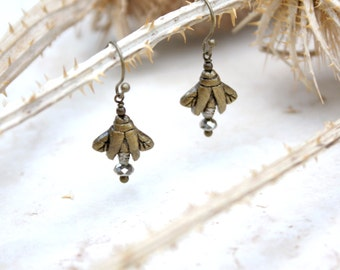 Firefly Earrings, Lightning Bug Drop Earrings, Insect Jewelry, Fire Fly, Bug Jewellery, Firefly Dangle, Silver and Gold, Fireflies, Gift