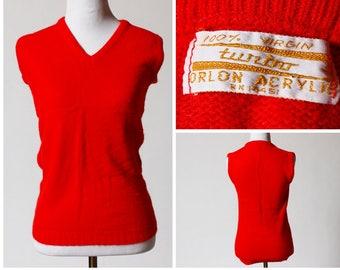 Vintage Men's Sweater Vest - 60's Retro Men's Extra Small XS Women's Small S Red