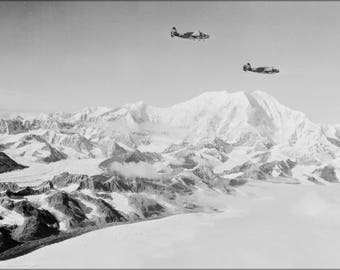 Poster, Many Sizes Available; Army Air Force Lockheed A-29 Hudson Mount Mckinley, 1942