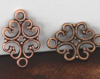 10 Pcs Connectors, Antique Copper, 18mm Ornate Diamond - eTS030AC