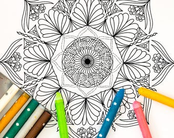 Mandala Coloring Page: A printable coloring page for adults perfect for stress relief, relaxing and meditation.