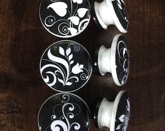 1.5 inch black and white floral cabinet knobs drawer pulls