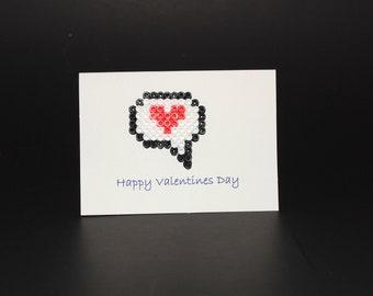 Heart Speech Bubble Valentine's Day Handmade Pelrer Bead Card