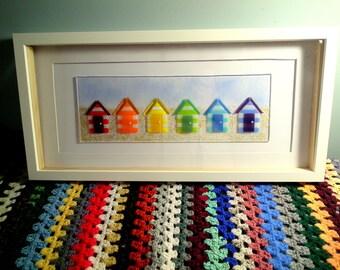 Fused Glass, Beach Hut Art, Rainbow Glass, Nautical, Beach Theme, Beach Art, Rainbow, Glass Art, Beach Huts, Fused Glass Art, Seaside Art