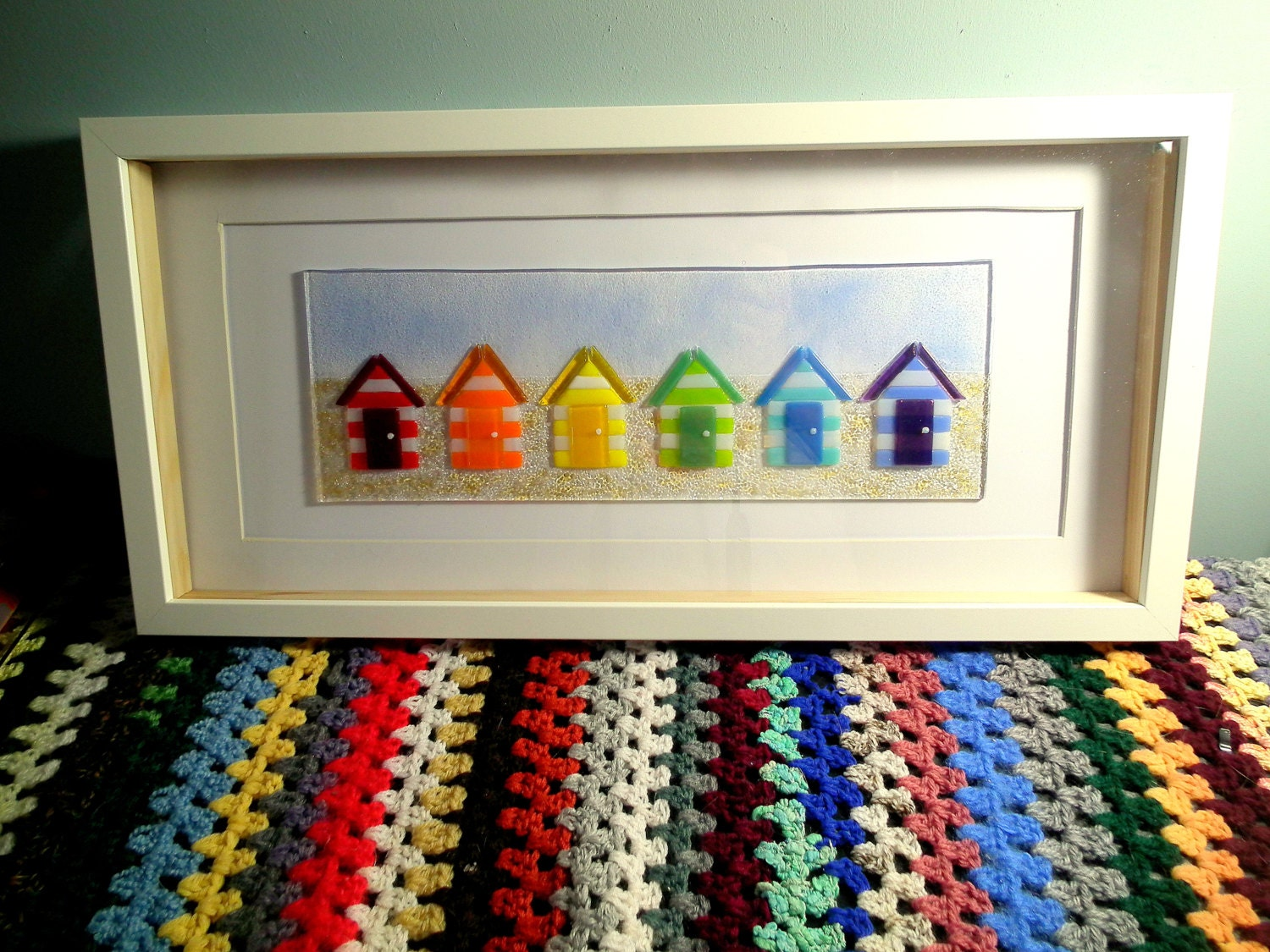 fused glass beach hut art rainbow glass nautical beach. Black Bedroom Furniture Sets. Home Design Ideas