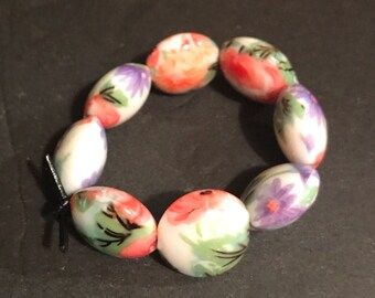 Boho Vintage bead set glass flower beads set of 8