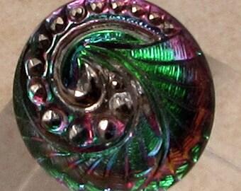 Czech Glass Button, Platinum Swirl, Green, Pink, 18mm, With Pendant Converter C483