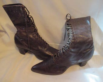 AMazing MUSEUM Quality VICTORIAN Brown Leather BOOTS Movie PROp! Excelent Condition!