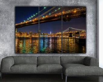 New York Brooklyn Bridge and Manhattan Bridge on Canvas, Large Canvas Wall art, New York City, Empire State, New York Photo, New York art
