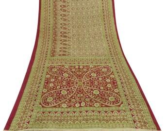 Indian Vintage Sari Craft Fabric 100% Pure Silk Floral Printed Beige Saree Used Indian Sari Fabric 5YD VPS51454