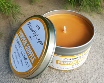 Pumpkin Souffle Scented Natural Soy Candle - Hand Poured 8 oz Travel Tin