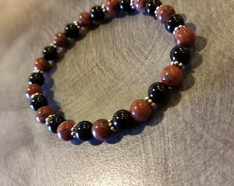 Black Onyx,Red Jasper and Sterling Silver Bracelet