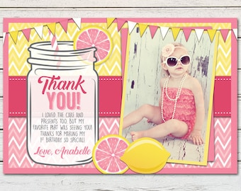 Pink Lemonade Printable Thank You Card - DIY - PDF & JPG Files only
