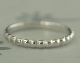 Wide Pillow Band~14K White Gold Band~White Gold Ring~Bubble Band~Beaded Band~Women's Wedding Ring~Stacking Ring~Women's Gold Band