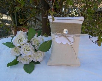 Lavender canvas door cushion old mattress with rickrack and bow linen