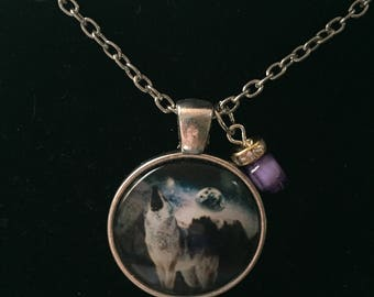 Handmade Howling Wolf Purple Necklace with Pendant