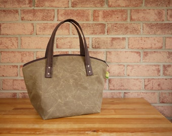 Waxed Canvas Zipper Tote in Taupe- Vegan Day Bag (Made to Order)
