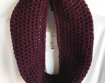 Cowl Scarf, Berry Infinity Scarf, Handmade Scarf, Womens Scarf, Gifts for Her, Chunky Crochet Scarf, Made To Order, Spring Scarf