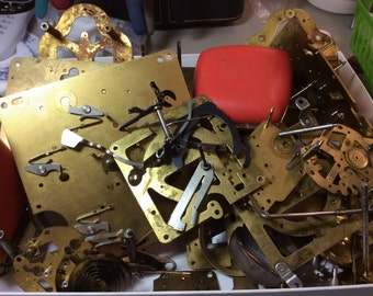 Free US Shipping  Steampunk --- vintage clock parts ,  over 4 lbs mostly brass back plates
