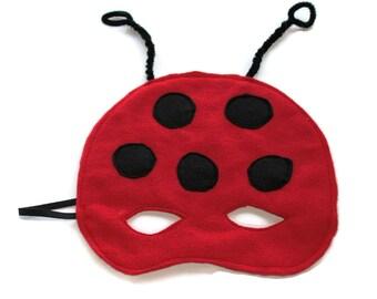 Coccinelle feutrine rouge masque enfant enfants rouge, noir