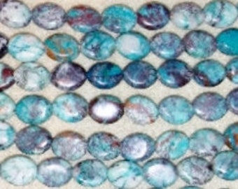 SALE! Chrysocolla beads oval beads small oval beads focal beads blue beads brown beads 8x10mm oval beads