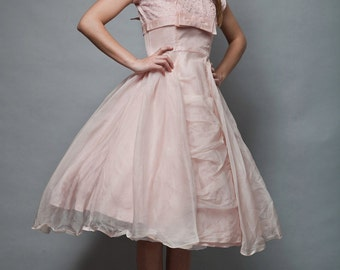 vintage 1950s new look cupcake organza party dress pink bow lace cap sleeves prom full skirt MEDIUM M