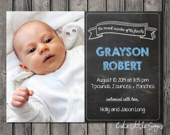 Chalk Birth Announcement Baby Boy, Baby Birth Announcement Card Digital Download