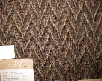 Flamestitch Zigzag Stirated Tapestry DESIGNER FABRIC SAMPLE Highland Court Brown Black