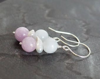 Jade earrings, pink kunzite earrings, kunzite jewelry, green earrings, Argentium silver French hook ear wires, jade jewelry gift for her