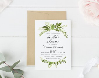 Printed bridal shower invitation, Boho Bridal Shower, Greenery bridal shower invitations| Boho Floral, printed or digital, personalized