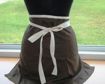 Handmade Linen Cafe Apron Chocolate Brown Bistro Apron Barista Apron Half Apron Kitchen Apron Baking Apron