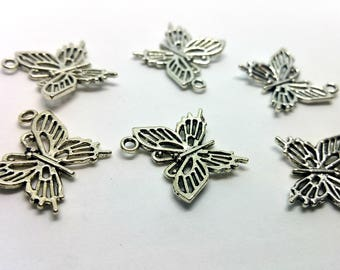 X 1 charm - Butterfly insect flight - silver metal
