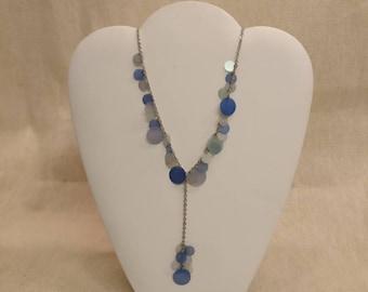 """Vintage Blue Disc Necklace, 16"""" long"""