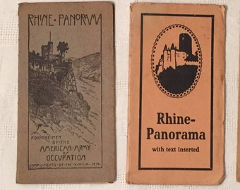 Pair of Vintage RHINE PANORAMA Tour Maps from 1940's - Tourist Maps of Rhine River