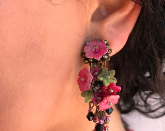 ROSE GARDEN Dangle Hand beaded Earring by Vintage Jewelry Designer Colleen Toland