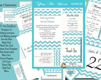 Blue Chevron Wedding Invitation Kit on CD