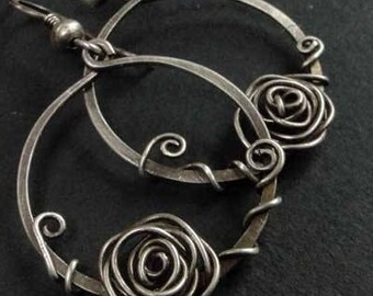 Silver 925/1000 Silver earrings oxidized aged roses