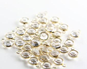 4pcs Swarovski Channel Pendant 57700 Round-Crystal Gold SS29 (SWB00001)