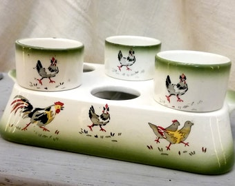 Antique French egg cups carrier made from ceramic airbrushed decoration of chickens years 1920's-1930's - Antique frenchegg cups easter