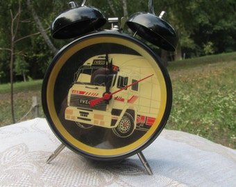 New Old Stock 90's Clock, Iveco Vintage Clock, alarm clock with twin bells, Winding Clock, Bells Clock IVECO souvenir, black clock