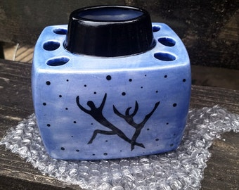 1 Hand Painted Blue and Black White Earthenware Ceramic Toothbrush Holder OOAK