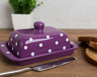 Purple Covered Butter Dish with Lid, Ceramic Butter Keeper, European Style White Polka Dot, Stoneware Handmade Pottery, Housewarming Gift