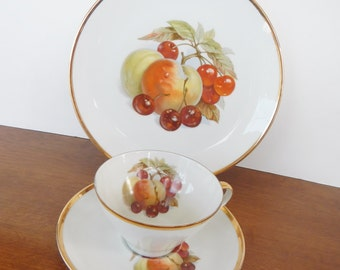 Vintage Bareuther China Teacup Trio Sets with Fruit- 18 pc  - cup, saucer, dessert plate, gold, apple, pear, grapes, pineapple,Germany