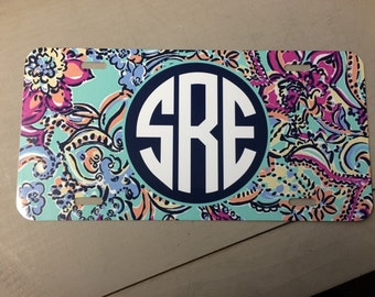 License Plate Lilly Pulitzer inspired monogrammed Car Tag