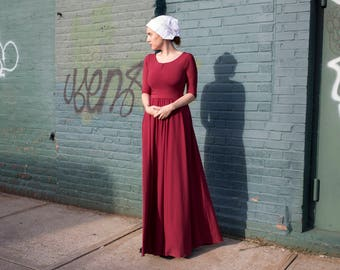 Handmaids Tale Costume - Burgundy Red dress from Handmaid's Tale - Flowy long with belt
