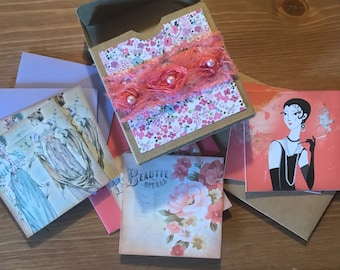 Assorted greeting cards // blank inside // stationery // mini note cards // gift box