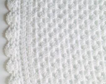 Crochet Baby Blanket, White Baby Blanket,  Gift For Newborn, Baby Shower Gift, Pram Blanket, Cot Blanket, Crochet Baby Blanket